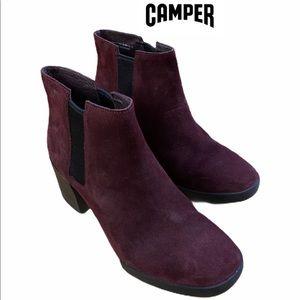 Camper Lotta Burgundy Suede Botties ankle boots